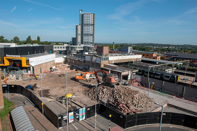 Wolverhampton Railway Station demolition complete and ground works underway in preparation for phase 2 construction